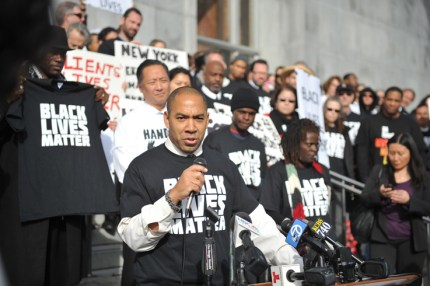 Chris Hite speaks at the #HandsUp rally on the steps of San Francisco's criminal courthouse, backed by Cephus Johnson, Oscar Grant's Uncle Bobby, Public Defender Jeff Adachi and over 200 deputy public defenders. Hite, also a deputy PD, co-chairs the Racial Justice Committee.