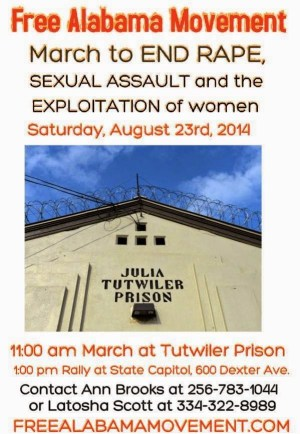 This flier summoned supporters to a rally at Tutwiler Prison for Women.
