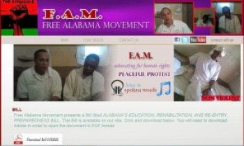 This is the homepage for the Free Alabama Movement website.