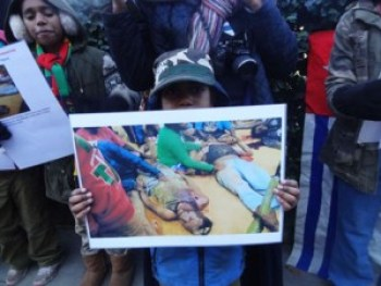Outside the Indonesian embassy in London on Dec. 13, the Free West Papua Campaign and British friends protest the Dec. 8 massacre of West Papua youth