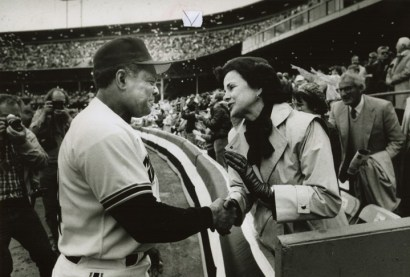 Willie Mays chats with then San Francisco Mayor Dianne Feinstein at the Giants' 1986 home opener at Candlestick Park. With today's Matier & Ross column, the Chronicle posted 61 historic photos of Candlestick. – Photo: Michael Maloney, SF Chronicle