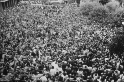 The Black Panther Party ignited a powerful movement – here, a crowd listens to Eldridge Cleaver speak at UC Berkeley – that was quickly snuffed out through subversion, murder and the incarceration of dozens of political prisoners still locked up nearly half a century later. – Photo: Pirkle Jones