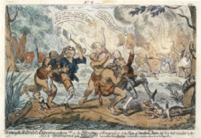 After California passed from Mexican to U.S. control, American settlers disparaged Mexican landowners by likening them to Blacks. Mexicans were descended from the Spanish, they reasoned, and the Spanish have Moorish blood, so they must be akin to Hottentots, whose wildly distorted cartoon images struck terror in whites. – Cartoon: George Cruikshank, published in about 1820