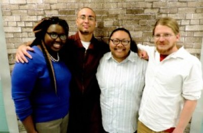 Nikki Grant and Ashley Henderson of the Amistad Law Project flanking imprisoned writer Robert Saleem Holbrook and Bret Grote of the Abolitionist Law Center are some of the brilliant and courageous legal minds challenging Pennsylvania's Prisoner Gag Law.