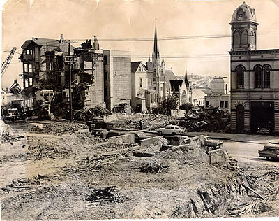 Redevelopment demolished buildings owned and/or occupied by Blacks, leaving adjacent structures standing. – Photo courtesy of SF Library History Center