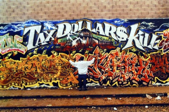 "TDK, which originally stood for Those Damn Kids, describing Mike ""Dream"" Francisco's crew, later morphed into Tax Dollars Kill as Mike matured. His surviving murals are strictly off-limits to tagging by other graffiti writers."