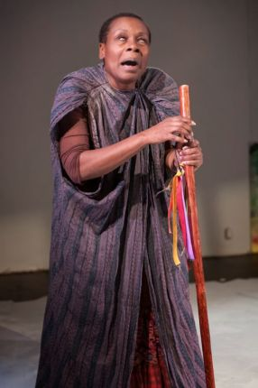 "Awele Makeba plays the blind soothsayer in ""Xtigone."" – Photo: Lance Huntley"