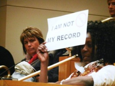 'I am not my record' young Black woman at hearing on fair chance hiring 0515