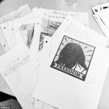 These are some of the letters – from Marylin Zuniga's students and from some high school students – delivered to Mumia by Professor Johanna Fernandez.