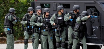 This photo of militarized police is posted to white supremacist website majorityrights.com. They also note approvingly that many U.S. police forces are trained by Israelis.