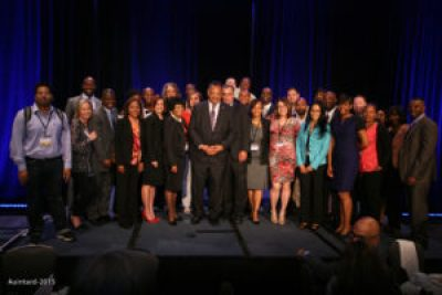 Staff members from Intel, PUSH and OUSD posed together at the PUSHTech2020 Summit in San Francisco May 6. – Photo: Auintard