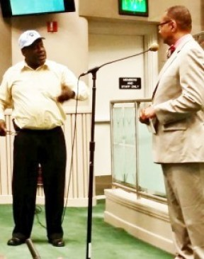Dorsey Nunn (l) asking Assemblymember Reggie Jones-Sawyer (r) for his support on an executive order to Ban the Box. He gave his support, and further agreed to ask the Congressional Black Caucus for theirs.