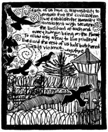 "Pen pals Mutope Duguma and Annie Banks collaborated on this art piece. ""I have been a printmaker for 15 years,"" Annie says, ""and Mutope is a prolific writer. He sent me this quote and I created an image based on photographs of Pelican Bay, as well as of ravens. The medium of art used is called a linocut (similar to a wood cut). It is a carving that I did with a small blade using a type of linoleum similar to what is used for flooring. I then inked the carving with a water-based ink and pressed paper on top of it, creating the relief image that you see."""