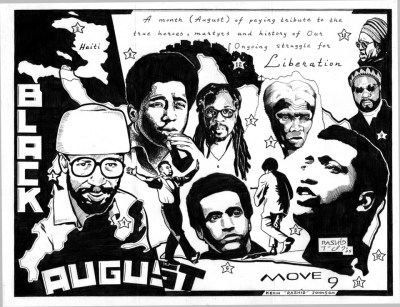 """""""Black August"""" – how many of these people and their stories do you know? Black August is a good time to get better acquainted. – Art: Kevin """"Rashid"""" Johnson, 1859887, Clements Unit, 9601 Spur 591, Amarillo TX 79107, who is minister of defense for the New Afrikan Black Panther Party Prison Chapter"""