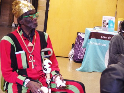 Brother Tahuti graced the 25th Annual African American Celebration through Poetry on Feb. 7, 2015, at the West Oakland Library in his finery. – Photo: Wanda Sabir