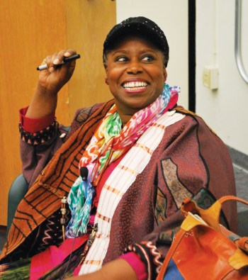 Cynthia McKinney smiles as she prepares to speak at Laney College in Oakland April 24, 2013, on a tour organized by the Bay View and the Block Report. – Photo: Darnisha Wright