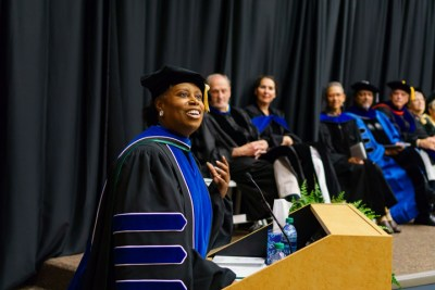 Cynthia McKinney speaks at the graduation ceremony.