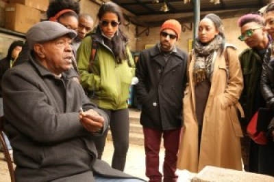 The Dream Defenders delegation to Palestine meets with a member of the Afro-Palestinian community in Jerusalem. – Photo: Christopher Hazou