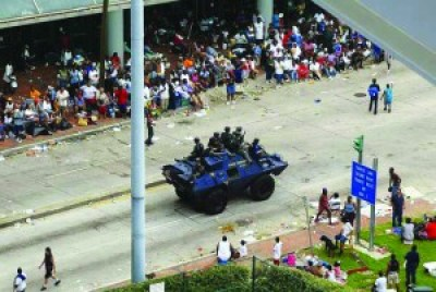 "Federal, state and local law enforcement and military were everywhere in New Orleans after Katrina, told to shoot looters on sight – ""looters"" meaning Blacks, not whites, who the media said were looking for food, not looting. They rolled right past the crowds literally dying outside the Convention Center but offered no help."