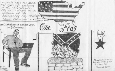 """One Flag"" – Art: Comrade Pitt (Peter Mukuria), 1197165, Red Onion State Prison, P.O. Box 1900, Pound VA 24279"
