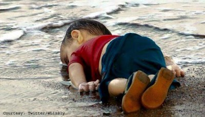 The lifeless body of 3-year-old Aylan Kurdi lies on the shore of Turkey near Bodrum on Sept. 2.