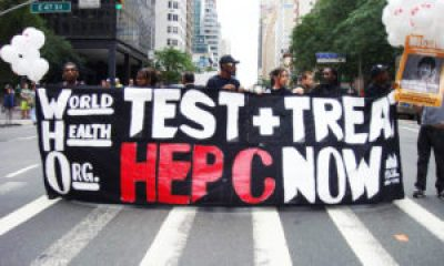 "New Yorkers with hepatitis C and allies protest outside of the World Health Organization's NYC office on May 8, 2013, on the eve of World Hepatitis Day. WHO has called hepatitis C a ""viral time bomb"" yet has done little to address the epidemic. An estimated 150 million people have chronic hepatitis C infection worldwide, and about 350,000 people die from hepatitis C-related liver disease each year."