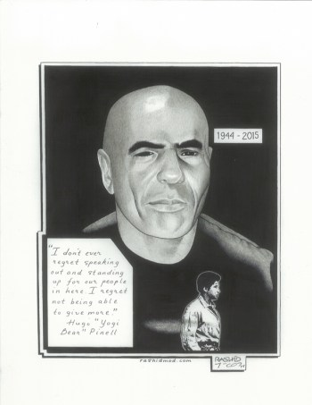 """Hugo 'Yogi Beat' Pinell"" – Art: Kevin ""Rashid"" Johnson, 1859887, Clements Unit, 9601 Spur 591, Amarillo TX 79107"