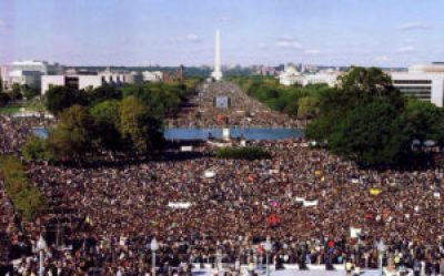 """About a million people filled the National Mall on 10-10-15 to mark the 20th anniversary of the Million Man March and demand """"Justice or else""""! – Photo: Bri Forte"""