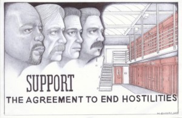 """The artist writes this dedication: """"Agreement to End Hostilities: With great honor and respect to all Short Corridor Collective representatives, near and far, for having the wisdom and keen foresight to change the course for the greater good – and to all those dedicated like-minded individuals who are in the struggle to end oppression and solitary confinement – in solidarity."""" – Art: Michael D. Russell, C-90473, PBSP SHU D7-217, P.O. Box 7500, Crescent City CA 95532"""