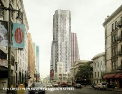 In this architect's rendering, the massive 5M project rises up out of SoMa like a ghostly – ghastly – tyrant. – Photo: Forest City