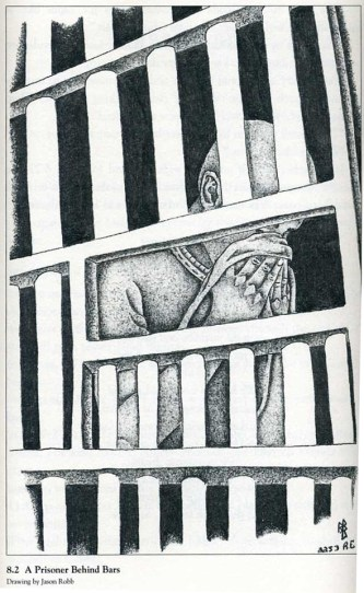 """This drawing, """"A Prisoner Behind Bars,"""" by Jason Robb, who has joined Bomani's current hunger strike, appears in Staughton Lynd's book, """"Lucasville."""""""