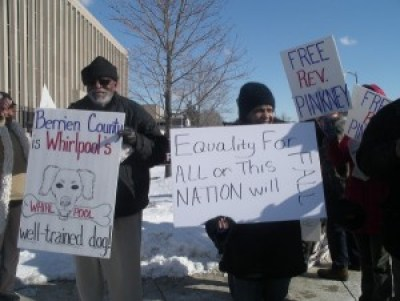 Earlier this year, a demonstration was held outside the Berrien County Courthouse after a hearing on releasing Rev. Pinkney on bail, which was denied. – Photo: Sandy Reid, People's Tribune