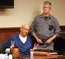 "Rev. Pinkney ""speaks"" from a Berrien County courtroom earlier this year. – Photo: Daymon J. Hartley"