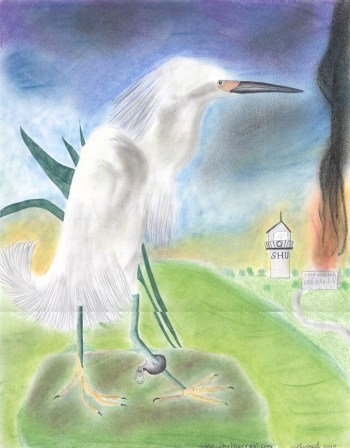 """The artist, Jose Villarreal, calls this """"Free at last … sort of"""" and writes, """"So long as one of our loved ones remains back being tortured in SHU, none of us are free!"""" despite his joy at having himself been released from SHU to general population at Pelican Bay. The snowy egret, Jose's favorite bird and the national bird of Aztlán, """"sits looking at the SHU, still with its ankle shackled"""" to symbolize his comrades """"left to rot"""" inside. The work was done with ballpoint pen, colored pencils and pastels. – Art: Jose Villarreal, H-84098, PBSP B4-210, P.O. Box 7500, Crescent City CA 95532"""