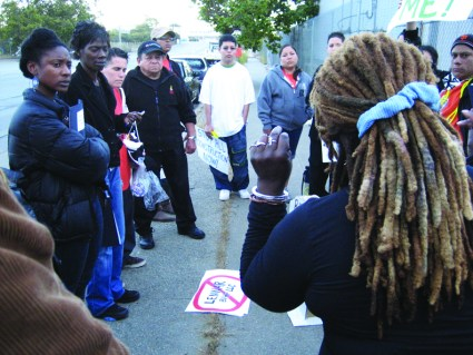 The advocacy group POWER played a major role in educating and organizing the community to stop environmental racism. Here, on July 17, 2007, they took their protest to Lennar's on-site Shipyard office. On the left is Alicia Garza, a co-founder of Black Lives Matter.