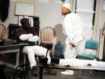 Actor Pierre Scott as Sterling (handyman) with Elder Joseph Barlow (actor Adimu Madyun).