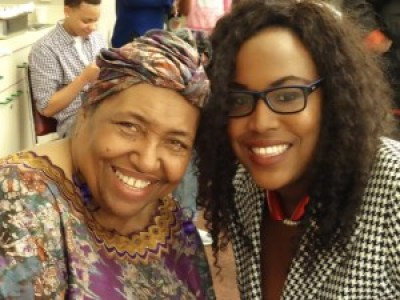 "Sister Njelela Kwamilele, who coordinated the film screening and reception for ""Not for Sale: The Oscar C. Wright Story,"" directed by Michael Lange, poses with her daughter, Congresswoman Barbara Lee's Communications Manager Tasion Kwamilele. – Photo: Wanda Sabir"