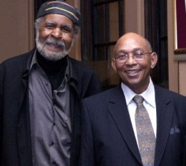 Acclaimed artist Eugene White and Bay View publisher Dr. Willie Ratcliff attend Media Matters Theater Night at the Lorraine Hansberry Theatre on Dec. 29, 2011. – Photo: Malaika H Kambon