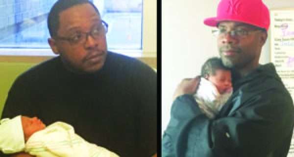 On their birthday, Rashad holds his son, Akir Touré, born at 4:05 p.m. on Feb. 15, as Eugene holds his daughter, born at 3:51 a.m. on Feb. 15.