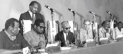 Caribbean leaders sign the agreement establishing the Caribbean Community (CARICOM), with its headquarters in Guyana. Since then the Bahamas, Haiti and Suriname have become members, and Anguilla, Bermuda, British Virgin Islands, Cayman Islands and The Turks and Caicos Islands have been admitted as associate members. Pictured, from left, are Errol Barrow of Barbados, Linden Forbes Sampson Burnham of Guyana, Eric Williams of Trinidad and Tobago, and Michael Manley of Jamaica on July 4, 1973.