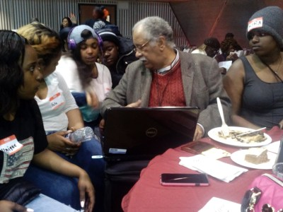 Unique, Fale, Xlisha, Dre'Zhane and Kira of Hunters Point's Girls 2000 talked extensively to Dr. Ray Tompkins about the history of pollution and air quality in Bayview Hunters Point at the Black Health Summit held on March 19 at San Francisco State University. – Photo: Xlisha Laurent