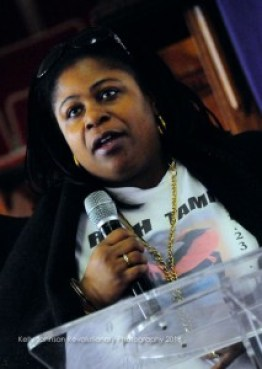 Samaria Rice, mother of 12-year-old Tamir Rice from Cleveland, Ohio, addresses the gathering. – Photo: Kelly Johnson Revolutionary Photography
