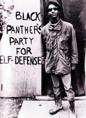 'Black Panther's Party for Self-Defense' young Panther beside sign on wall