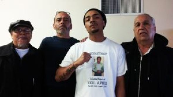 Most of the organizers of the big memorial for Yogi on April 23 also came to a smaller party Allegra hosted to celebrate Yogi's birthday in March. On the left and right are Sundiata Tate and Bato Talamantez of the San Quentin 6, and between them are Yogi's younger brother, Bobby Cayetano, and his son El Ray, who is proudly wearing one of the T-shirts that Allegra designed. – Photo: JR Valrey, Block Report