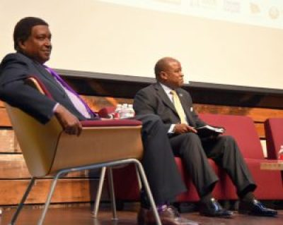 "John Burris with Otis Bruce Jr. at the ""And Justice for All"" Forum – Photo: Rodger Allen Photography"