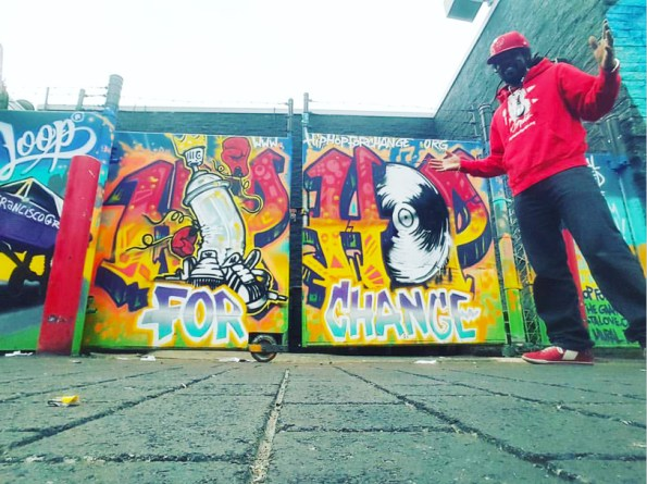 Hip Hop for Change mural on 24th and Lilac with Khafre Jay, founder and executive director