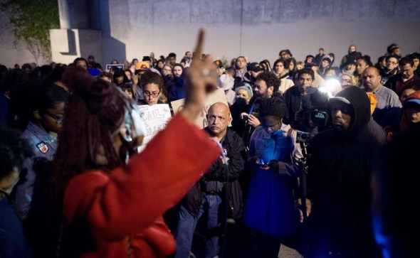 The evening of May 19, hours after a SFPD sergeant murdered Jessica Williams, over 100 people gathered at the site of her death for a vigil. – Photo: Noah Berger, S.F. Chronicle