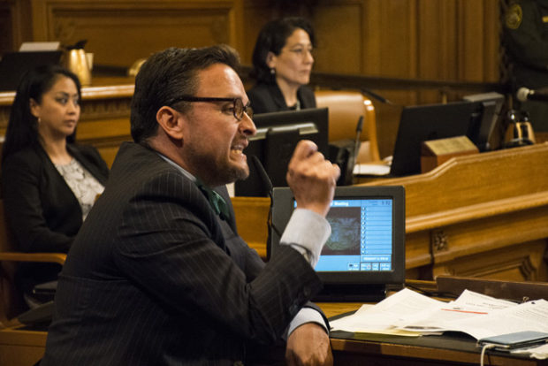 Supervisor David Campos' resistance to the call of the Frisco 5 and supporters for the firing of Police Chief Greg Suhr at an explosive meeting of the Board of Supervisors on May 3 has been replaced by his call today for a new chief. – Photo: Lola M. Chavez, Mission Local