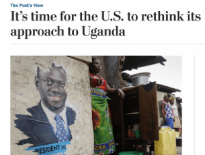 On April 8, 2016, the Washington Post Editorial Board opined that the U.S. should rethink aid that enables President Museveni's security forces to crack down on basic democratic freedoms in Uganda.