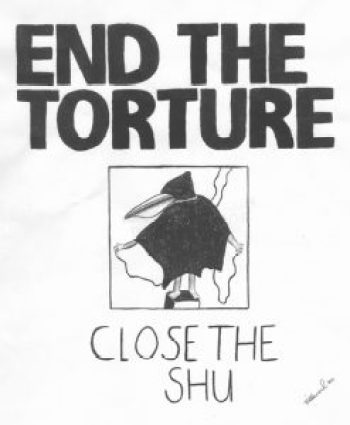 """""""Close the SHU"""" – Art: Jose Villarreal. Jose's art was a significant contribution to the victory of the hunger strikes."""